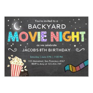 Invitación del cumpleaños de la noche de película