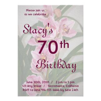 Invitación del cumpleaños de la orquídea