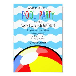 Invitación del cumpleaños de la pelota de playa de
