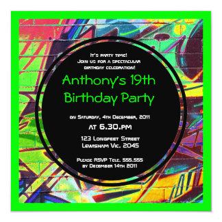 Invitación del cumpleaños de la pintada invitación 13,3 cm x 13,3cm