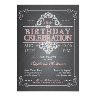 Invitación del cumpleaños de la pizarra del