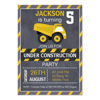 Invitación del cumpleaños de la pizarra del camión