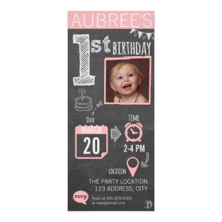 Invitación del cumpleaños de la pizarra del chica