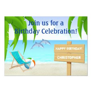 Invitación del cumpleaños de la playa y del océano