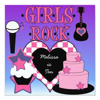 Invitación del cumpleaños de la roca de los chicas