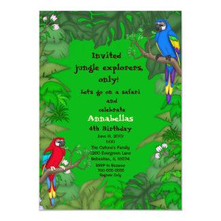 Invitación del cumpleaños de la selva del loro
