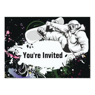 Invitación del cumpleaños de la snowboard del