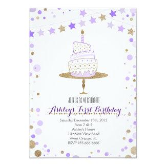 Invitación del cumpleaños de la torta del brillo
