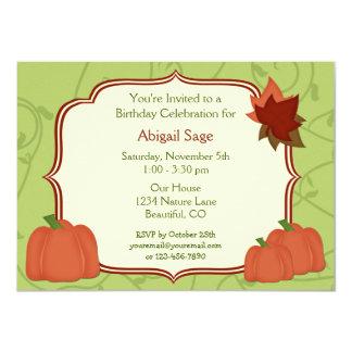 Invitación del cumpleaños de las calabazas y de invitación 11,4 x 15,8 cm