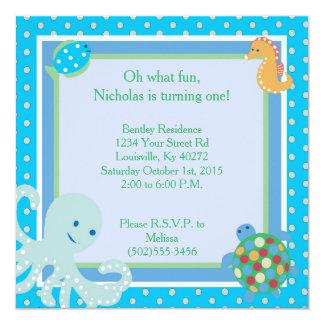 invitación del cumpleaños de las criaturas del mar invitación 13,3 cm x 13,3cm