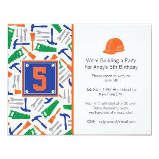 Invitación del cumpleaños de las herramientas invitación 10,8 x 13,9 cm