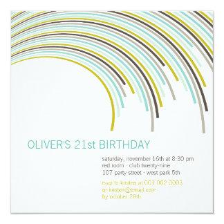 Invitación del cumpleaños de las rayas del fiesta invitación 13,3 cm x 13,3cm