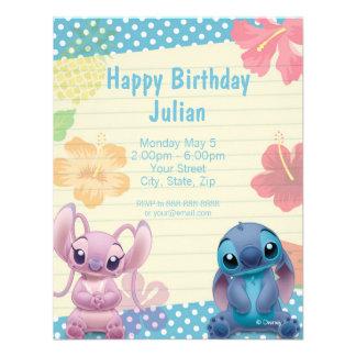 Invitación del cumpleaños de Lilo y de la puntada