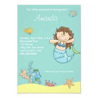 Invitación del cumpleaños de little mermaid