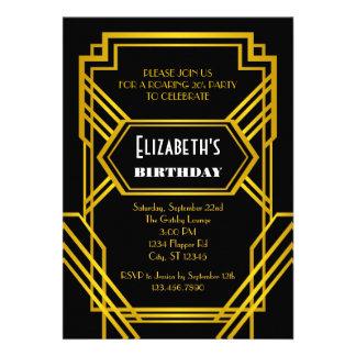 Invitación del cumpleaños de los años 20 del rugid