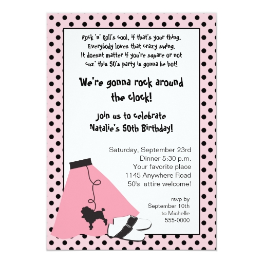 Invitación del cumpleaños de los años 50 de la | Zazzle