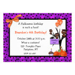 Invitación del cumpleaños de los búhos de Hallowee