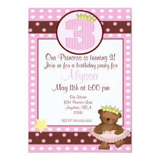 Invitación del cumpleaños de los chicas del oso de