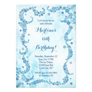 Invitación del cumpleaños de los copos de nieve
