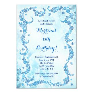 Invitación del cumpleaños de los copos de nieve invitación 12,7 x 17,8 cm
