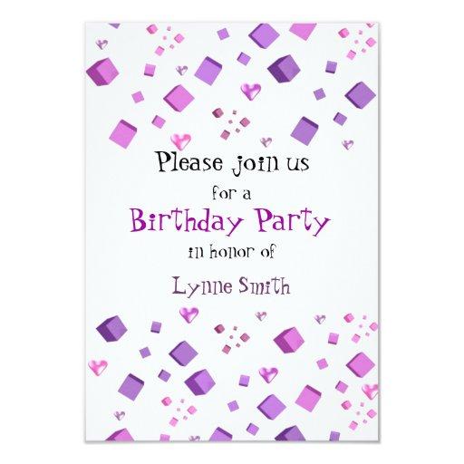 Invitación del cumpleaños de los corazones y de