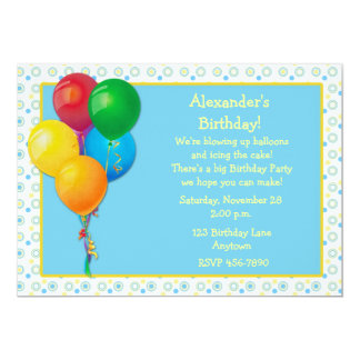 Invitación del cumpleaños de los globos