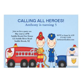 Invitación del cumpleaños de los héroes del rescat