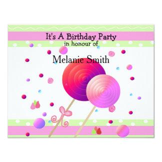 Invitación del cumpleaños de los Lollipops y de