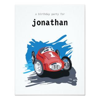 Invitación del cumpleaños de los niños - coche de invitación 10,8 x 13,9 cm