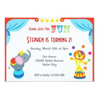 Invitación del cumpleaños de los niños del circo