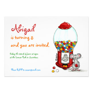 Invitación del cumpleaños de los niños - ratón lin