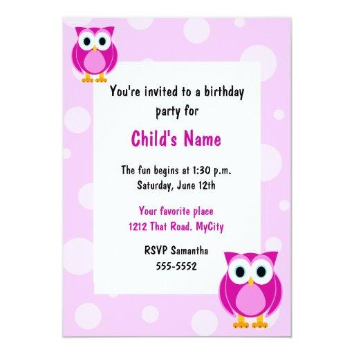 Invitación del cumpleaños de los niños rosados de invitación 12,7 x 17,8 cm