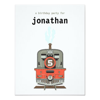 Invitación del cumpleaños de los niños - tren invitación 10,8 x 13,9 cm