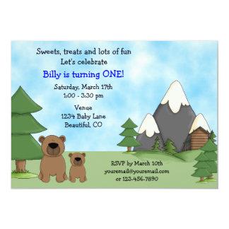 Invitación del cumpleaños de los osos de la
