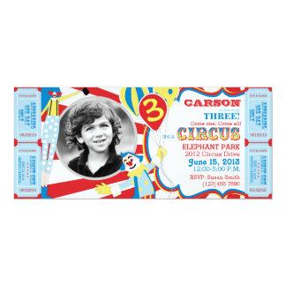 Invitación del cumpleaños de los payasos de circo invitación 10,1 x 23,5 cm