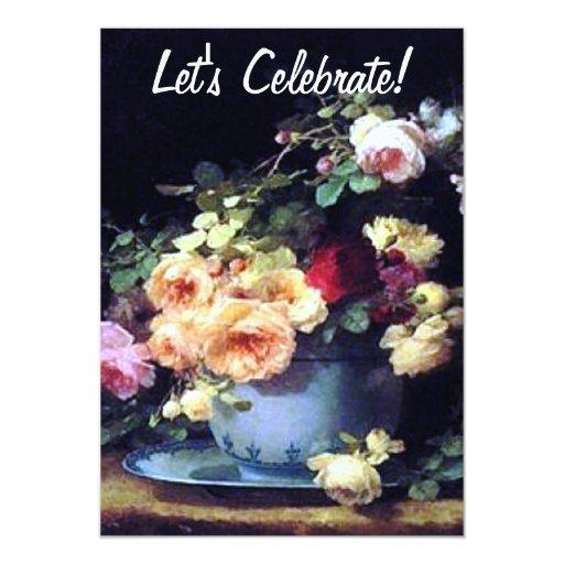Invitación del cumpleaños de los rosas del