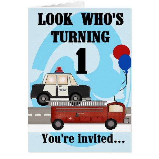 Invitación del cumpleaños de los vehículos de la e tarjeton