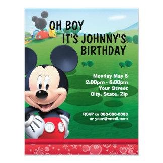 Invitación del cumpleaños de Mickey Mouse Invitación 10,8 X 13,9 Cm
