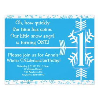 Invitación del cumpleaños de ONEderland del invier