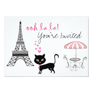 Invitación del cumpleaños de París del gato