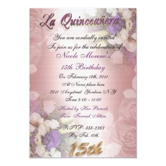 Invitación del cumpleaños de Quinceanera del La
