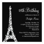 Invitación del cumpleaños de Tres París (negro)