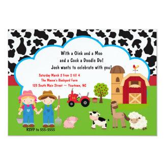 Invitación del cumpleaños del animal del campo