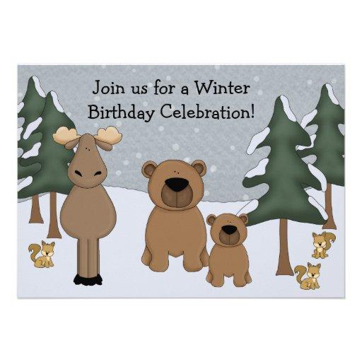Invitación del cumpleaños del arbolado del inviern