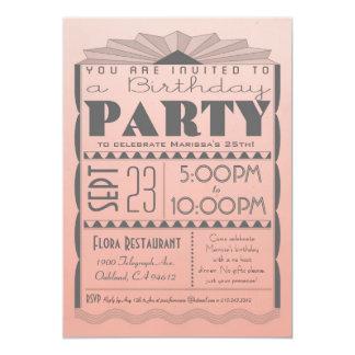 Invitación del cumpleaños del art déco - estilo invitación 12,7 x 17,8 cm