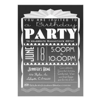 Invitación del cumpleaños del art déco - gris del