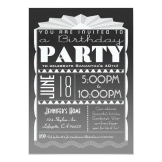 Invitación del cumpleaños del art déco - gris del invitación 12,7 x 17,8 cm