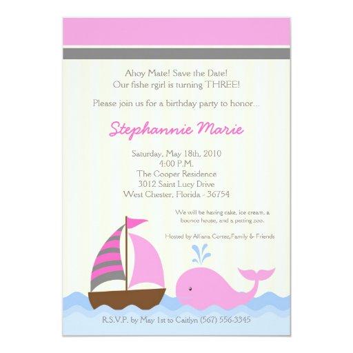 invitación del cumpleaños del barco de la ballena