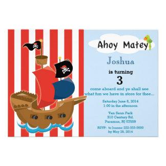 Invitación del cumpleaños del barco pirata