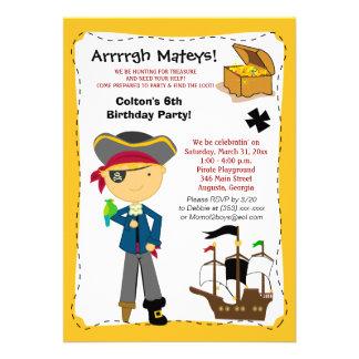 Invitación del cumpleaños del barco pirata del map
